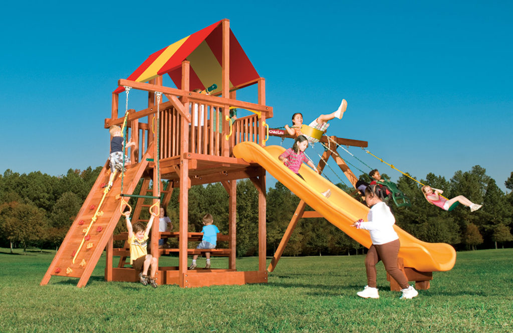 Bergen County Swing Sets Childlife Square Base Leopard's Lair F
