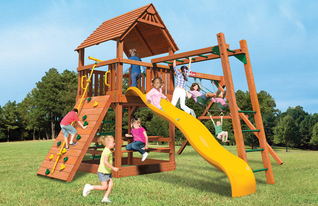 Bergen County Swing Sets Childlife Square Base Monkey Tower A