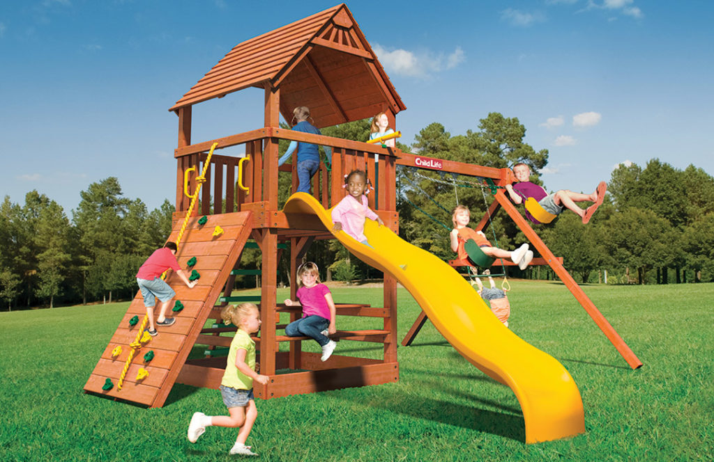 Bergen County Swing Sets Childlife Square Base Monkey Tower C