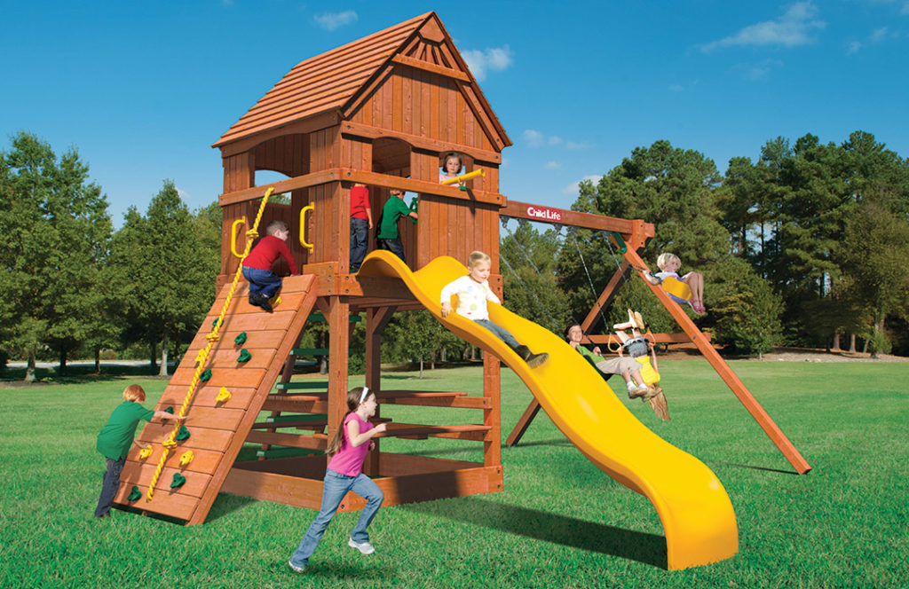 Bergen County Swing Sets Childlife Square Base Monkey Tower D