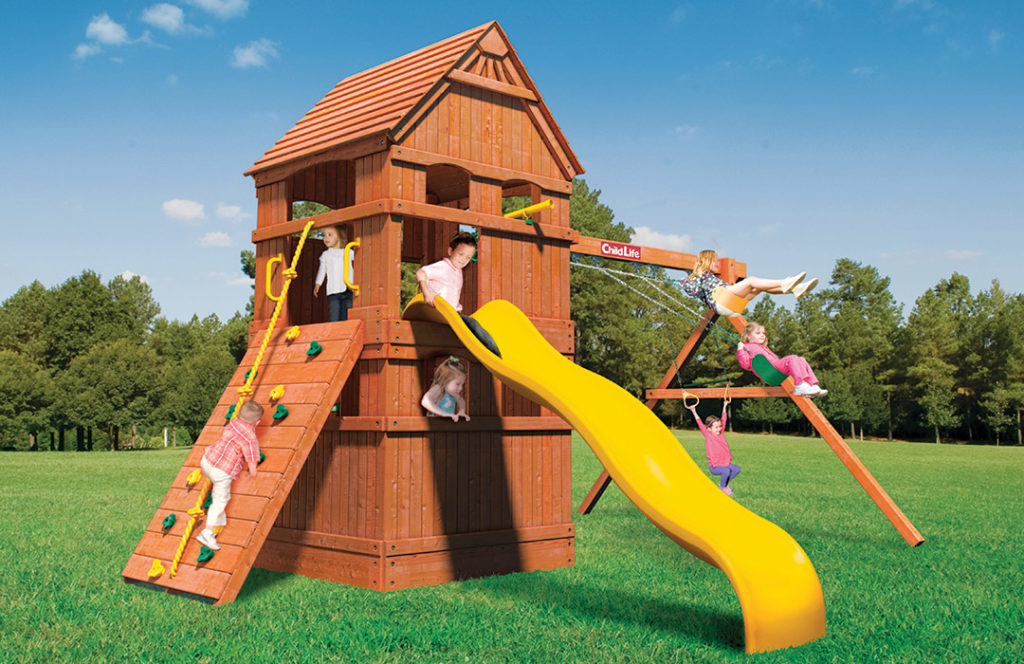 Bergen County Swing Sets Childlife Square Base Monkey Tower F