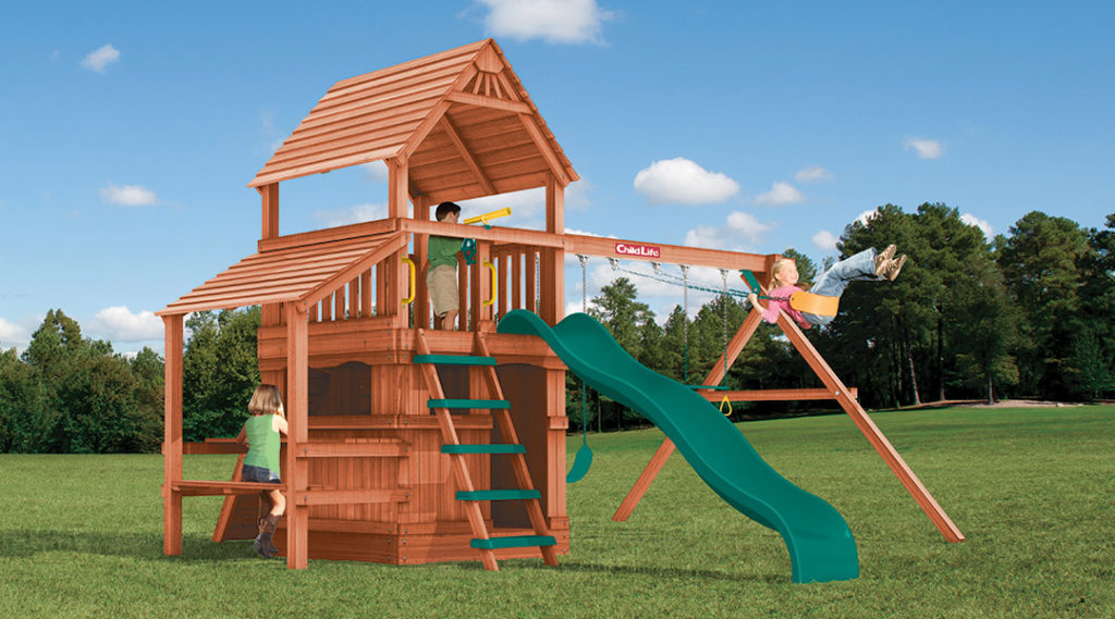 Bergen County Swing Sets Childlife Square Base Monkey Tower G
