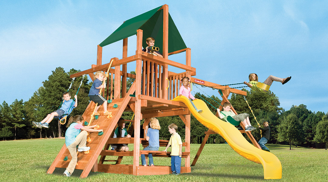 Bergen County Swing Sets Childlife Square Base Leopard's Lair A