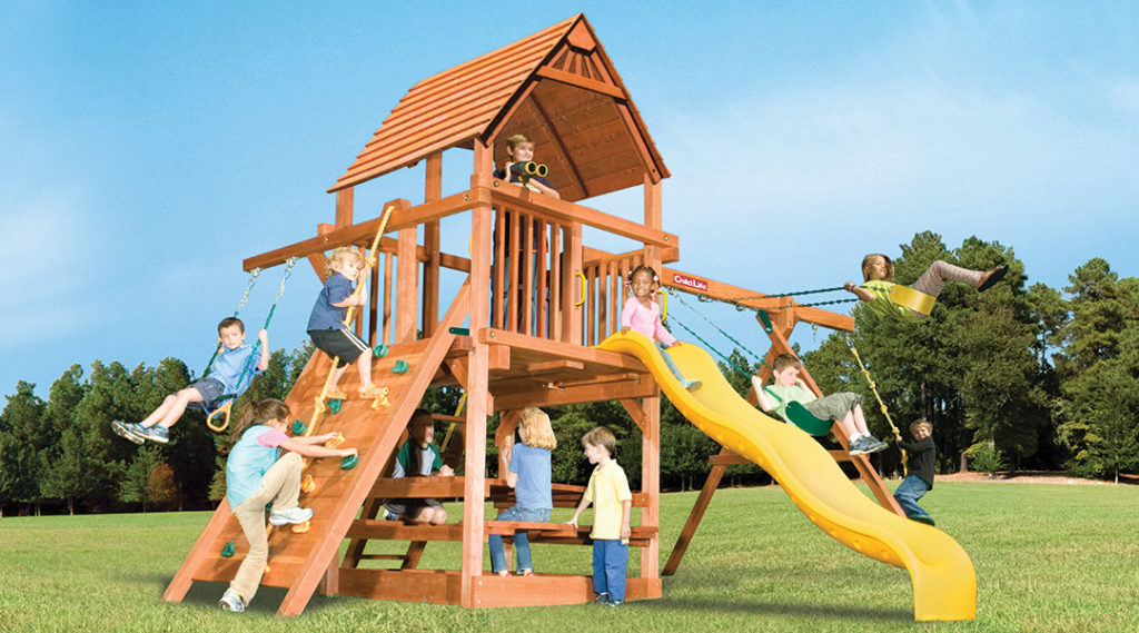 Bergen County Swing Sets Childlife Square Base Leopard's Lair B