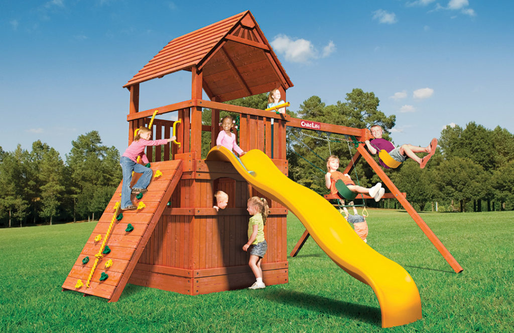 Bergen County Swing Sets Childlife Square Base Monkey Tower E