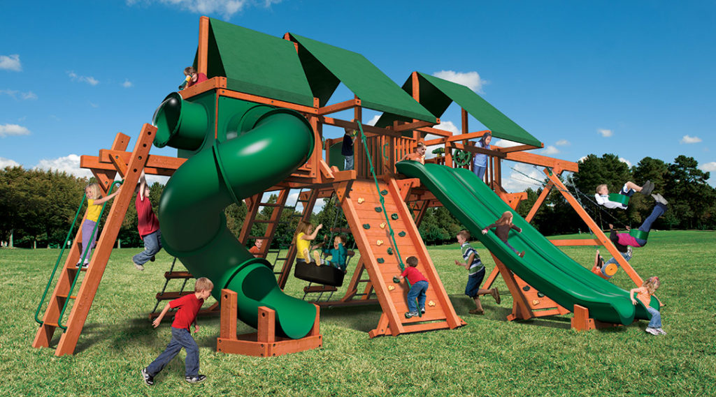 Bergen County Swing Sets Woodplay Megaset Double Outback 7F Playset