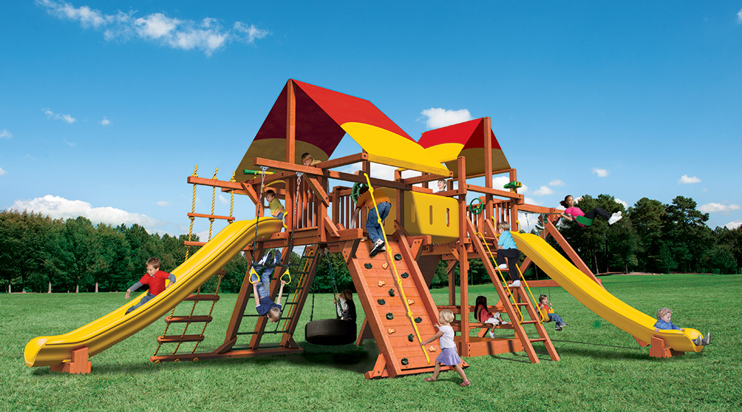 Bergen County Swing Sets Woodplay Megaset Outback Playhouse Combo 6F Playset