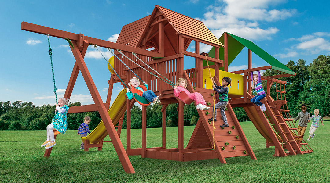 Bergen County Swing Sets Woodplay Megaset Outback Playhouse Combo XL Playset
