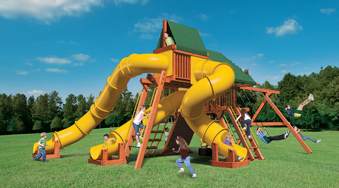 Bergen County Swing Sets Woodplay Megaset Outback Spiderslide 6F Playset