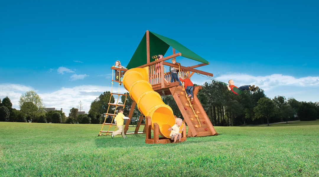 Woodplay Outback Space Saver With 90d Tube Slide Bergen County