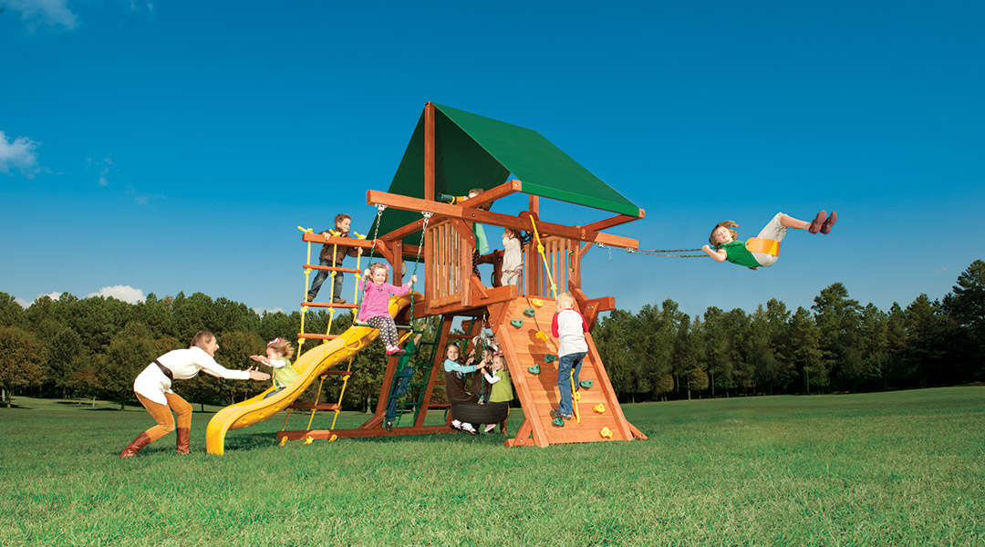 Bergen County Swing Sets Woodplay Outback Double Swing Arm