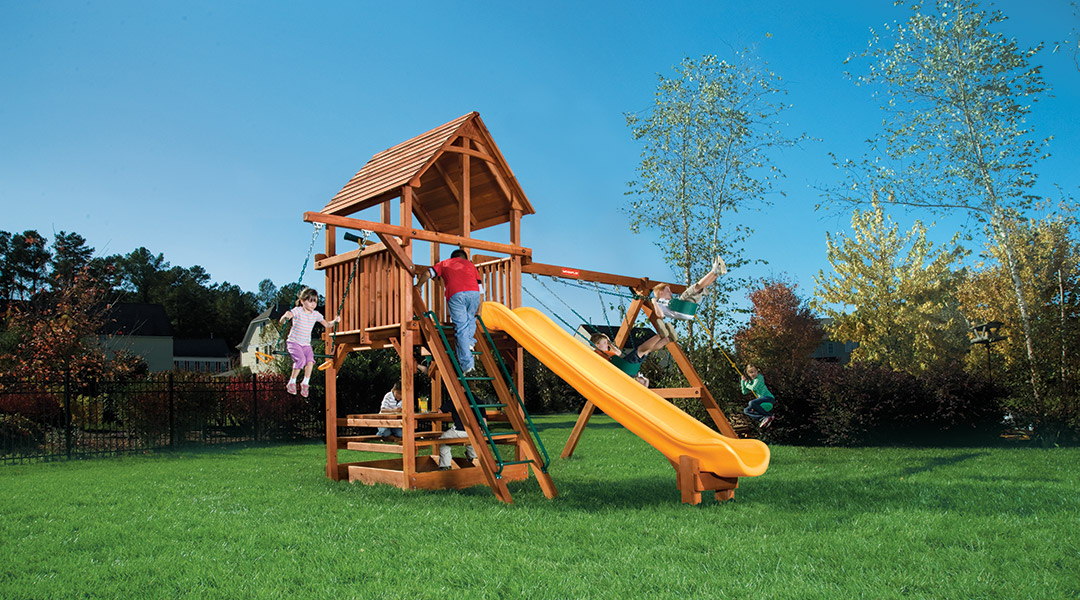 Bergen County Swing Sets Woodplay Playhouse 6A Playset