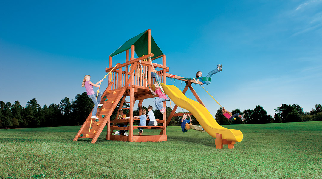 Bergen County Swing Sets Woodplay Playhouse 6B Playset