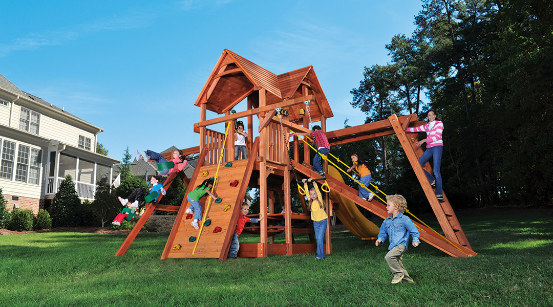 Bergen County Swing Sets Woodplay Playhouse 6XL B Playset