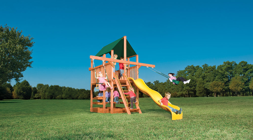 Bergen County Swing Sets Woodplay Playhouse Double Swing Arm XL